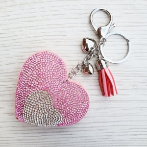 Sparkly Heart Keyring - Pink & Silver