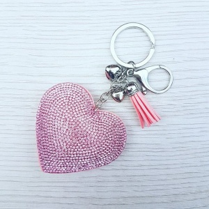 Sparkly Heart Keyring - Pink