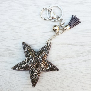 Sparkly Star Keyring - Grey
