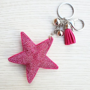 Sparkly Star Keyring - Hot Pink