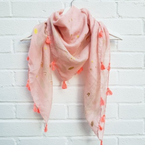 Square Tassel - Pink Scarf