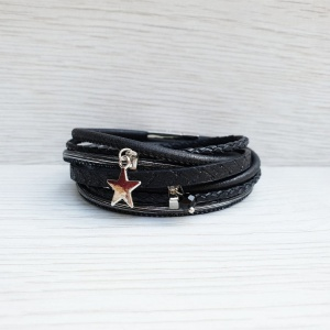 Star Charm Wrap Bracelet - Black