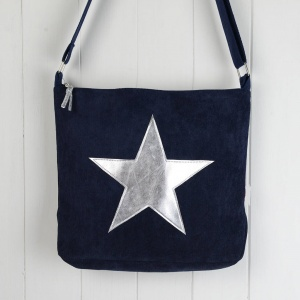 Star Messenger Bag - Navy & Silver
