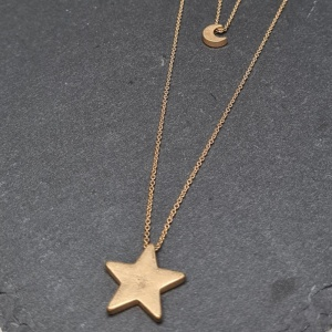 Star & Moon Layered Necklace - Gold