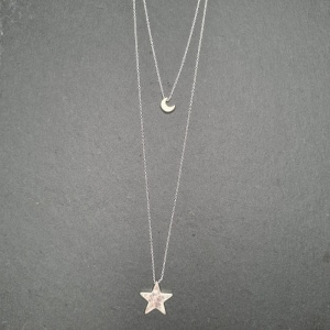 Star & Moon Layered Necklace - Silver
