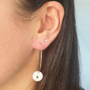 Star Disc Hoop Earrings - Silver
