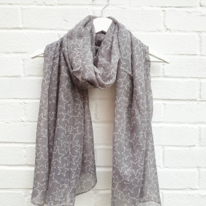 White Stars - Grey Scarf
