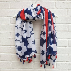 Tassel Flowers - Navy & Red Scarf