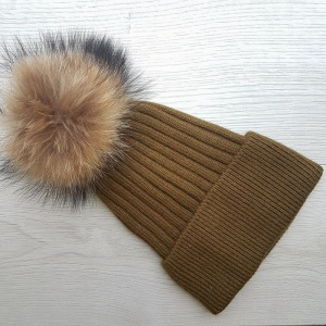 Cashmere Blend Ribbed Pom Pom Hat - Olive Green
