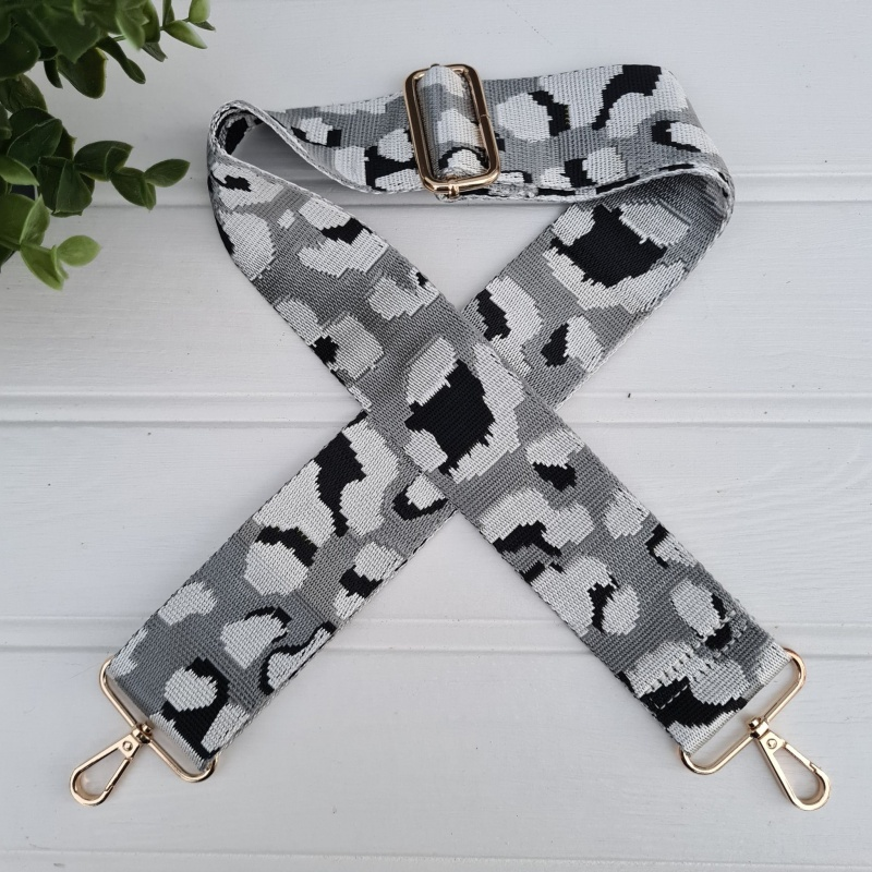 Bag Strap - Light Grey Leopard