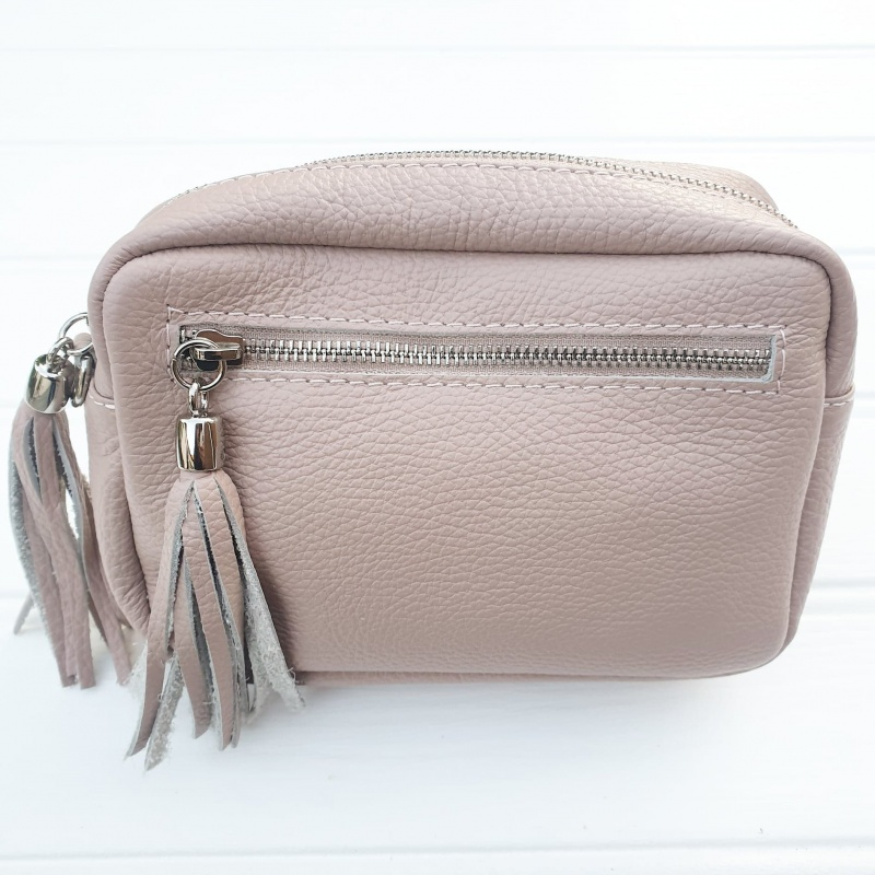 Double Tassel Leather Bag - Blush Pink