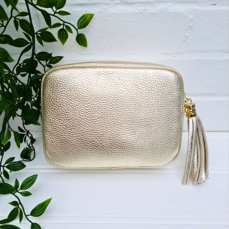 Tassel Zip Leather Bag - Gold
