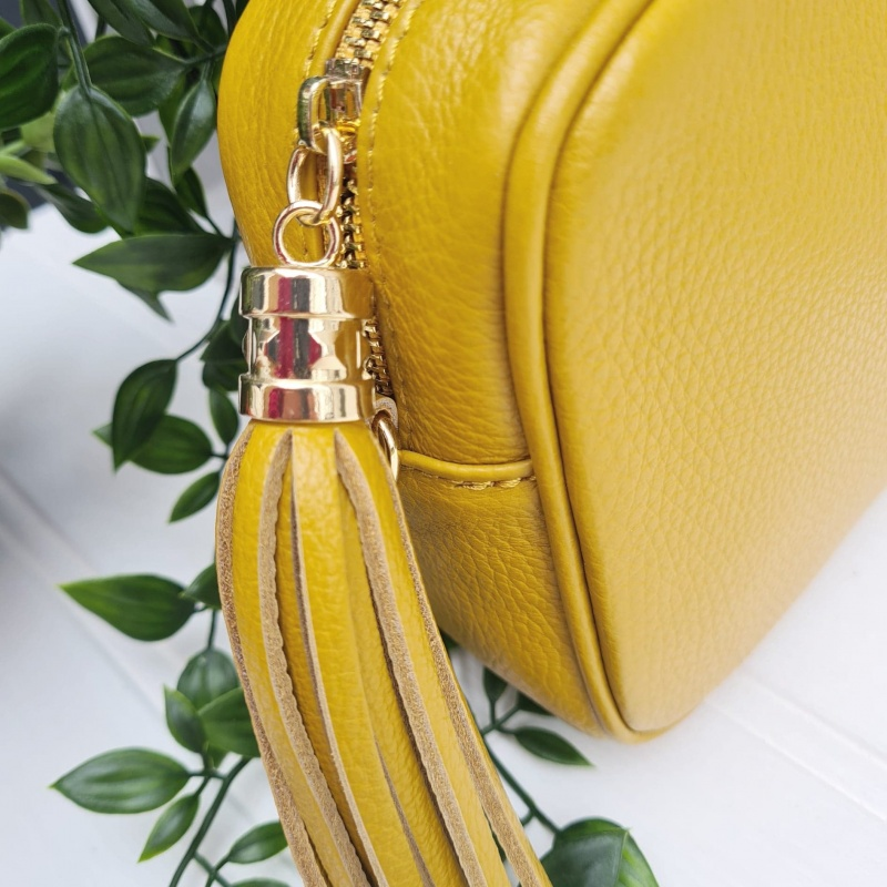 Tassel Zip Leather Bag - Mustard