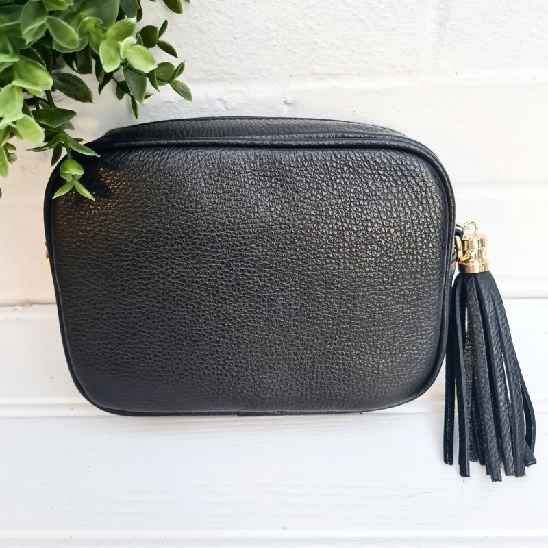 Tassel Zip Leather Bag - Black