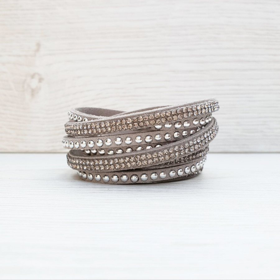 Rock Glamour Wrap Bracelet - Light Grey