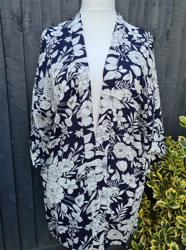 Abstract Flowers Kimono - Navy