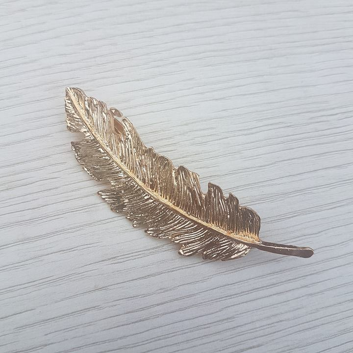 Feather Hair Clip - Gold