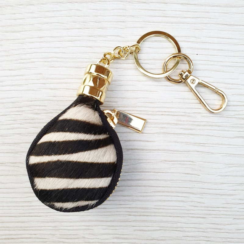 Leather Coin Purse Keyring - Zebra