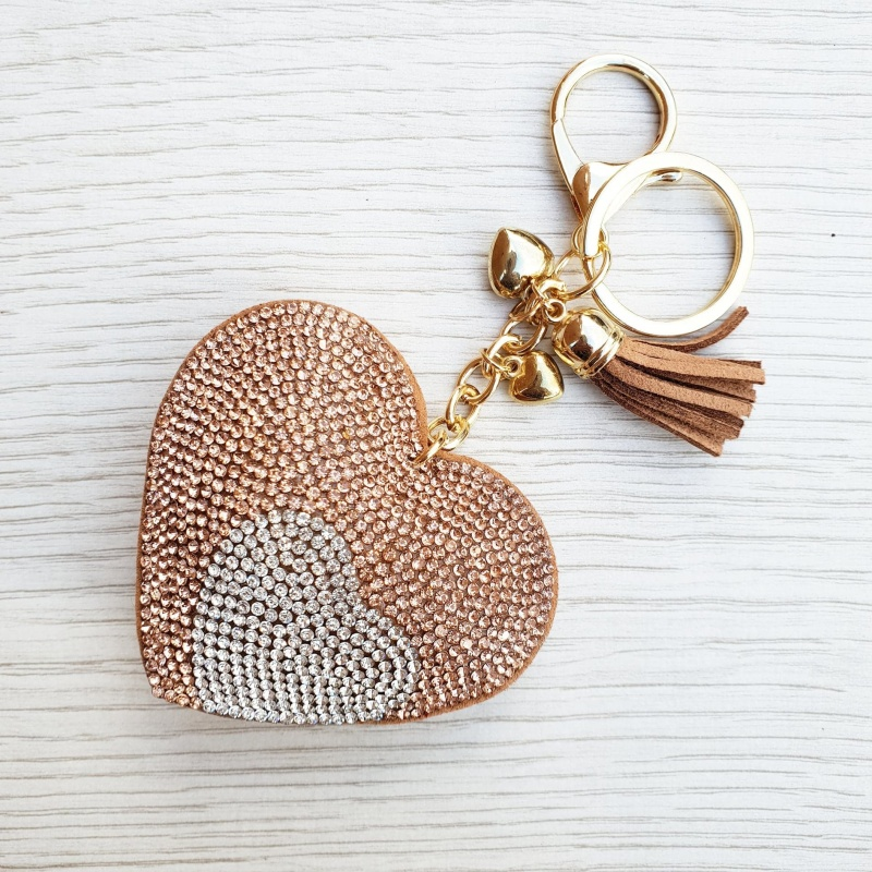 Sparkly Heart Keyring - Gold & Silver