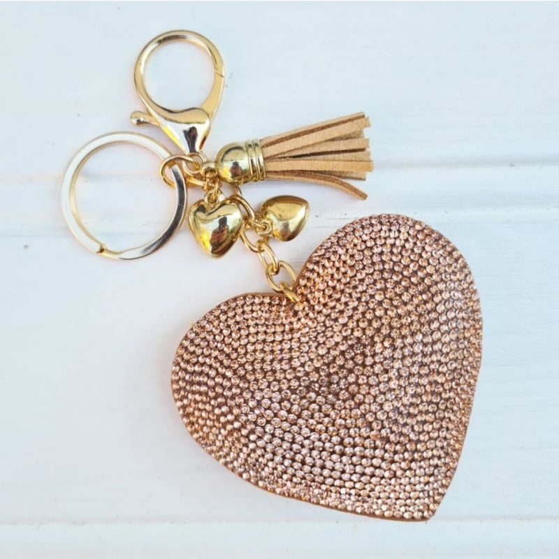 Sparkly Heart Keyring - Gold