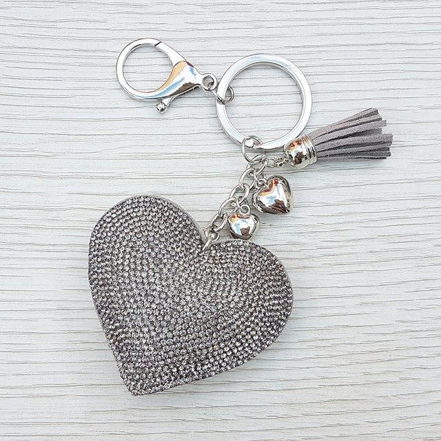 Sparkly Heart Keyring - Grey