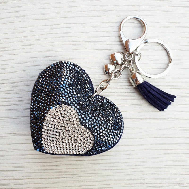 Sparkly Heart Keyring - Navy & Silver