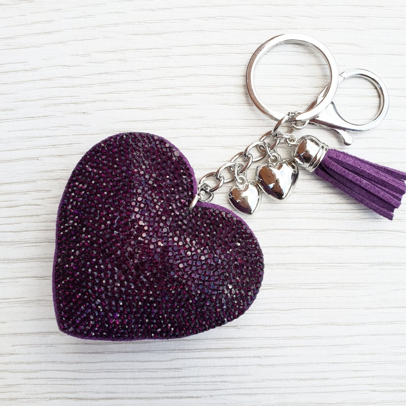 Sparkly Heart Keyring - Purple