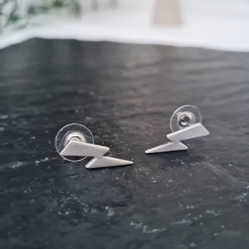 Lightening Bolt Stud Earrings - Silver