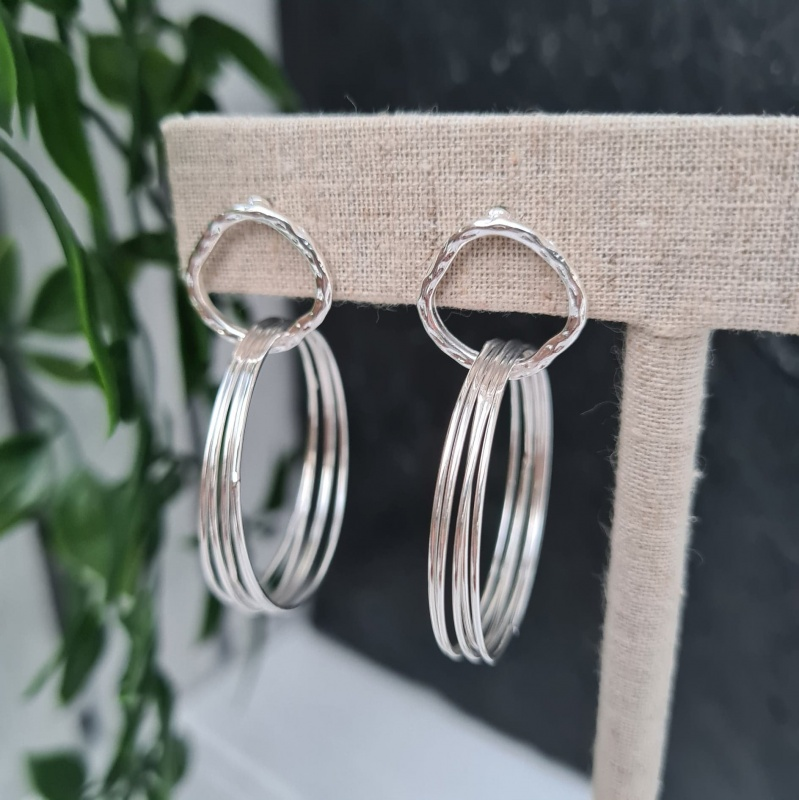 Link Hoop Earrings - Silver