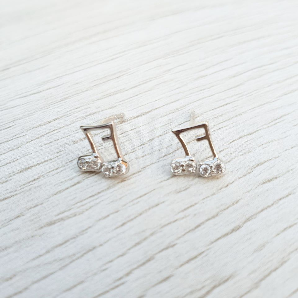 Sterling Silver Music Stud Earrings