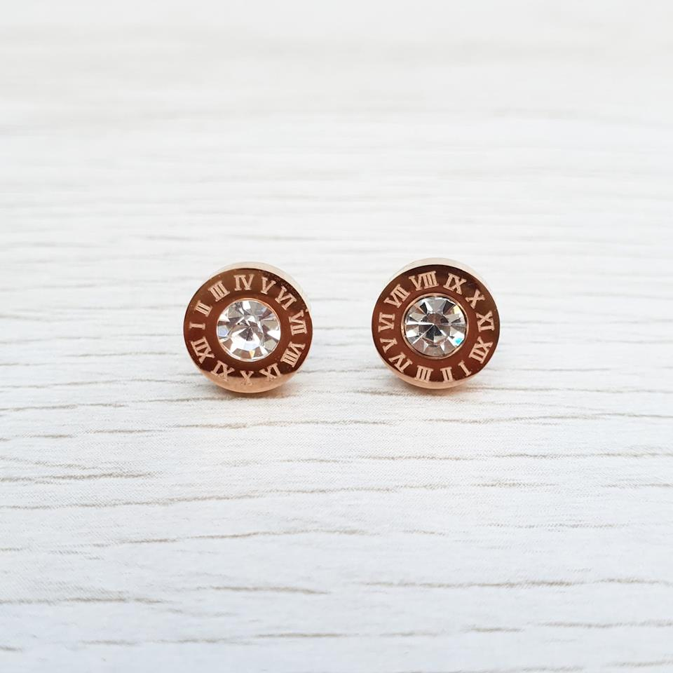 Roman Numeral Earrings - Rose Gold