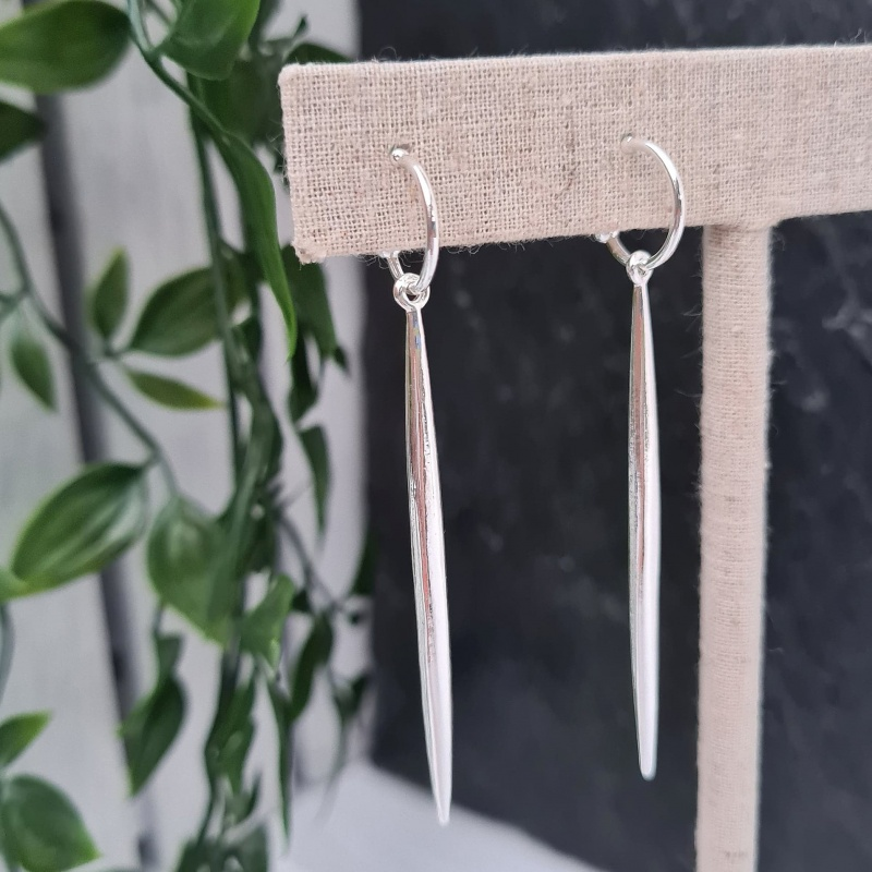 Spike Drop Earrings - Silver