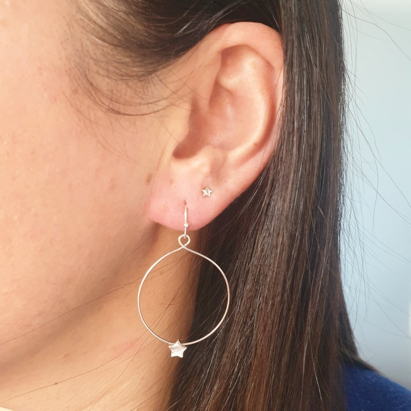Star Hoop Earrings - Silver