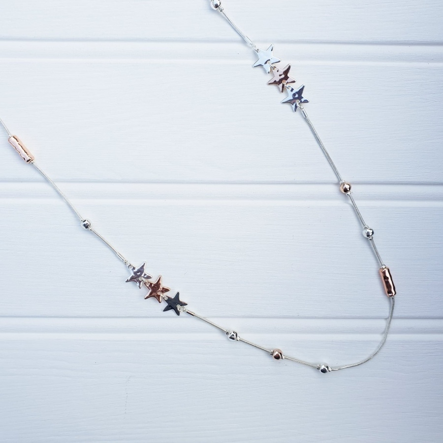 Triple Star Necklace - Silver & Rose