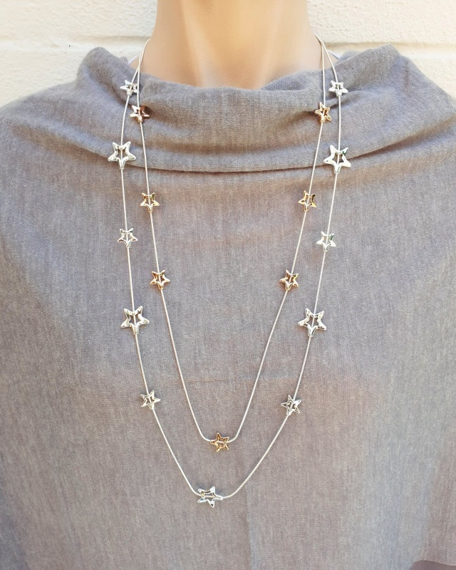 Twinkle Star Necklace - Silver & Rose Gold