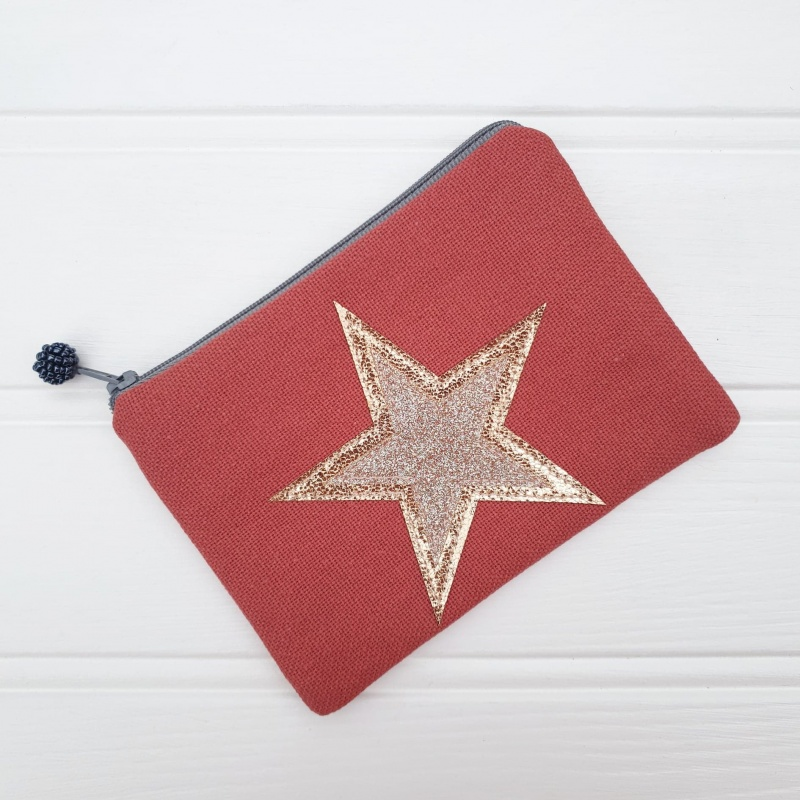 Double Star Coin Purse - Brick