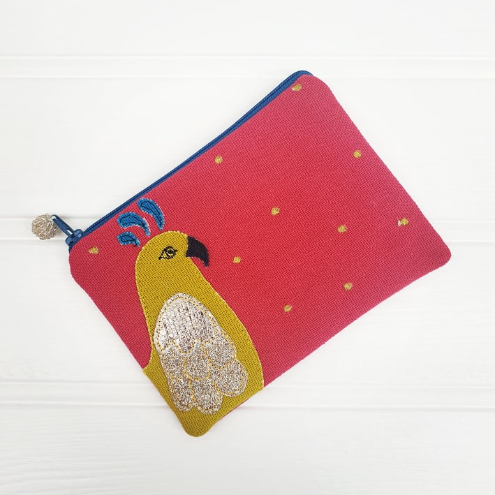 Parrot Coin Purse - Raspberry