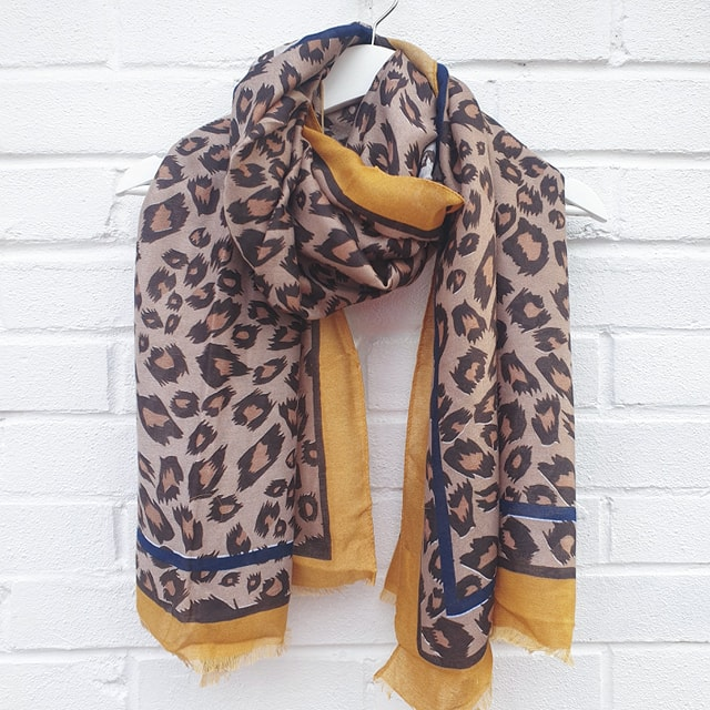 Edgy Leopard - Mustard Scarf