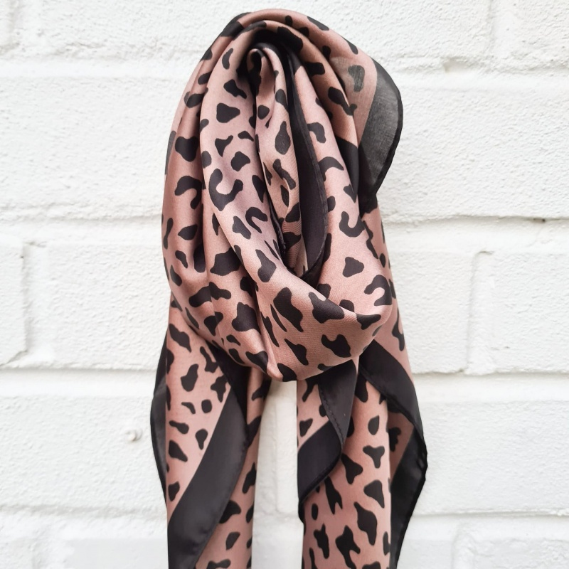 Silky Square Scarf - Rose Taupe Cheetah
