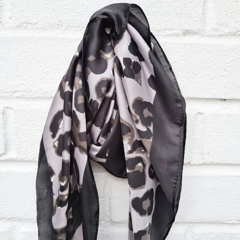 Silky Square Scarf - Leopard