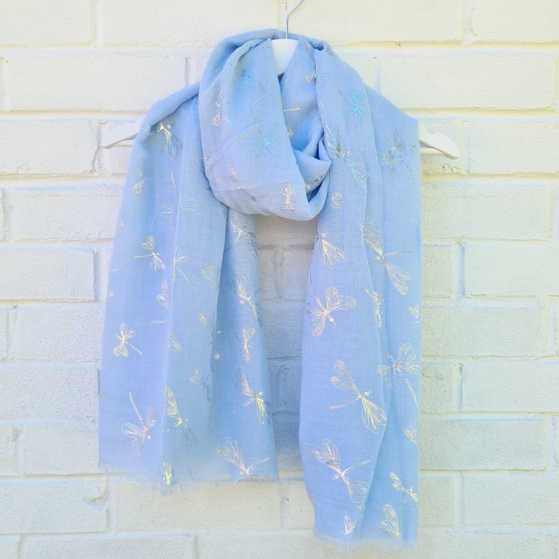 Glitter Dragonflies - Baby Blue Scarf