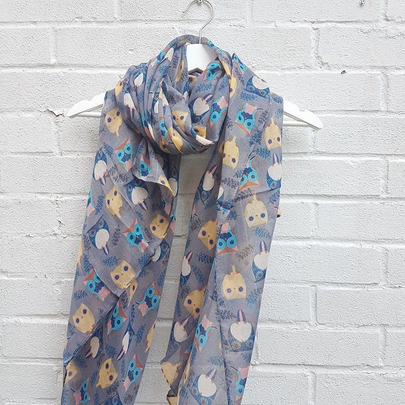 Colourful Owls - Grey Scarf