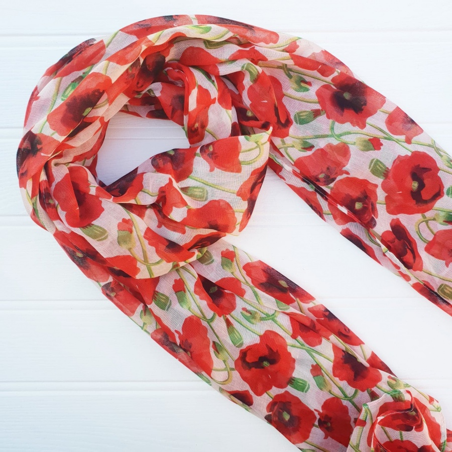 Poppy scarf with red and white poppy pattern