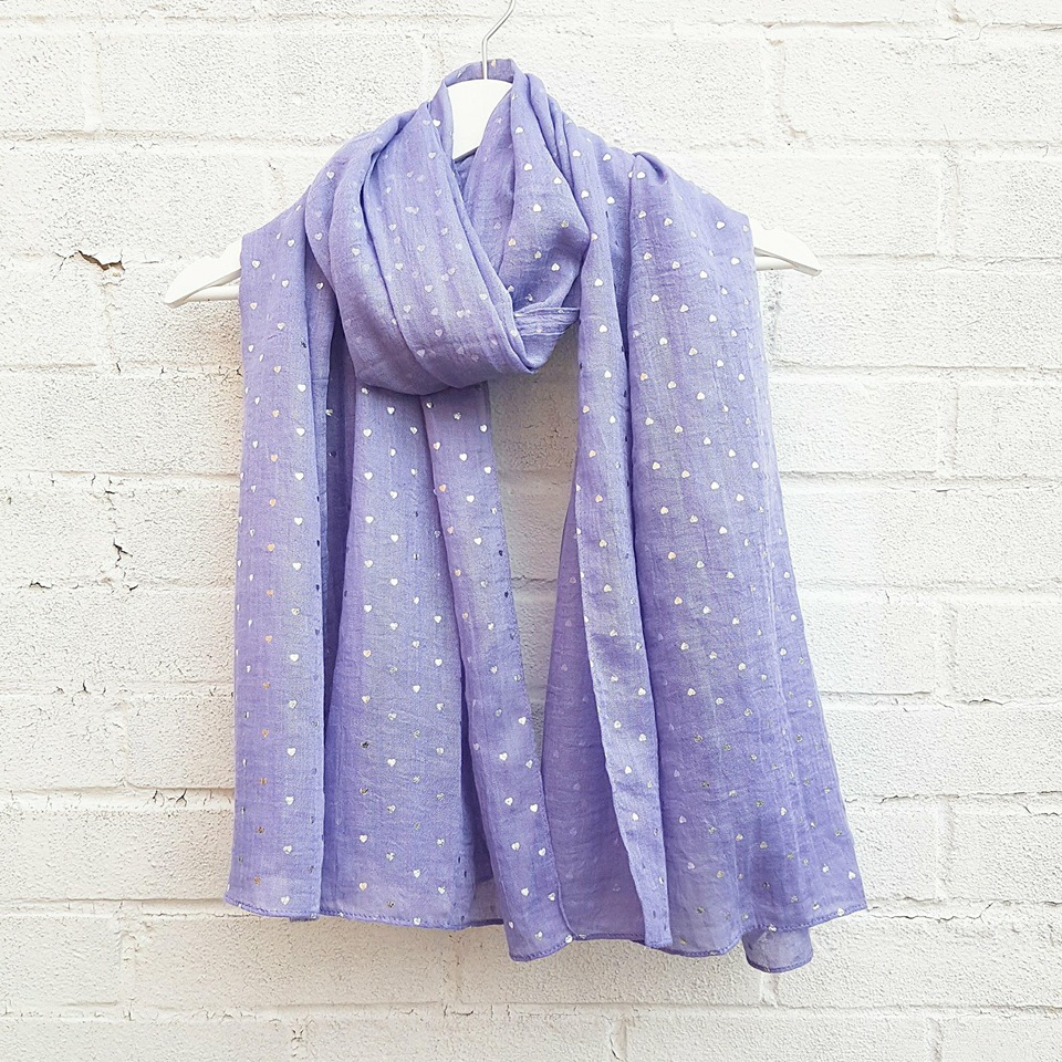 Ditsy Silver Hearts - Purple Scarf