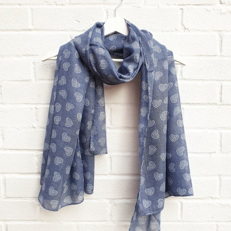 Love Hearts - Blue Scarf