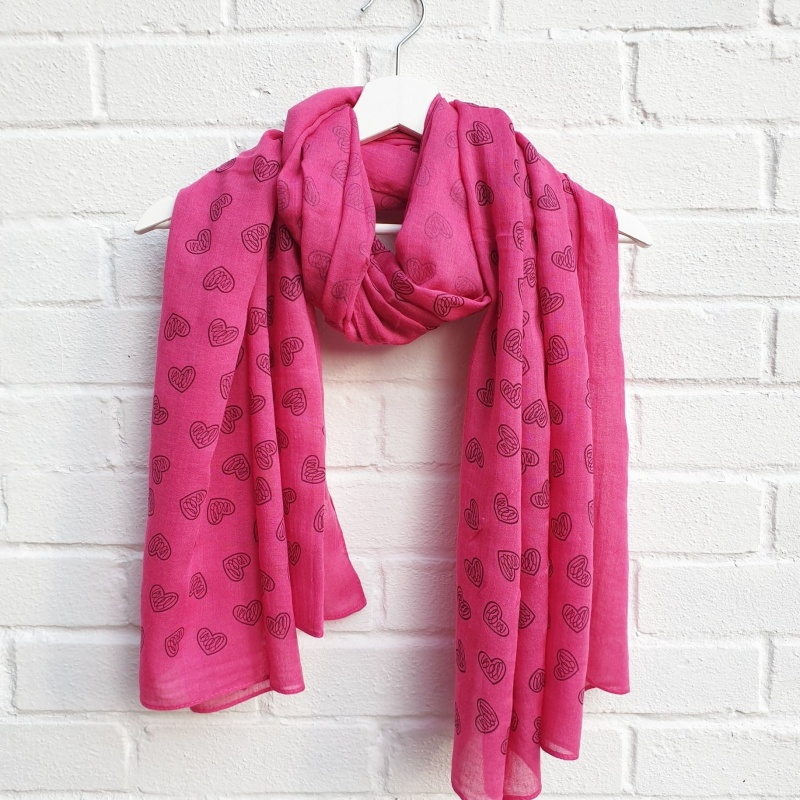 Love Hearts - Pink Scarf
