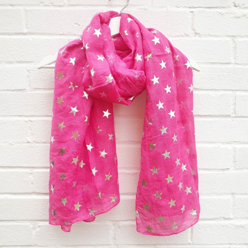Silver Stars - Pink Scarf