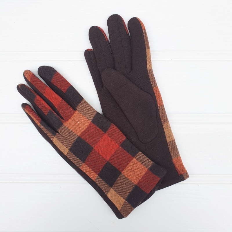 Checked Gloves - Brown