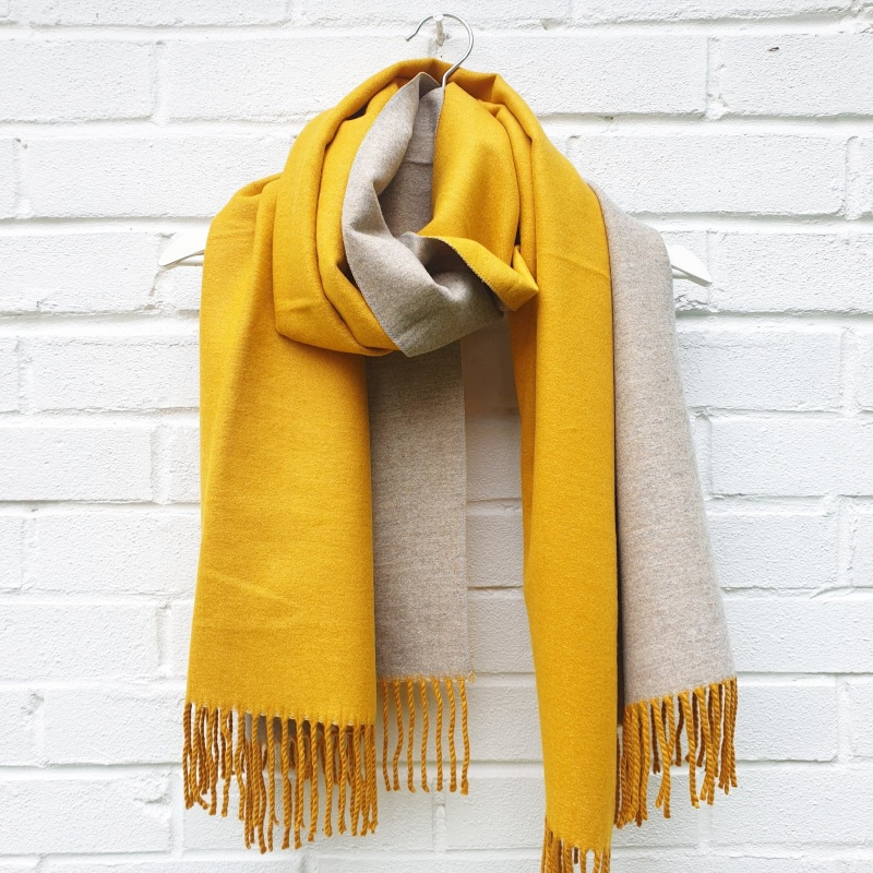 Plain Wool Mix - Mustard Scarf