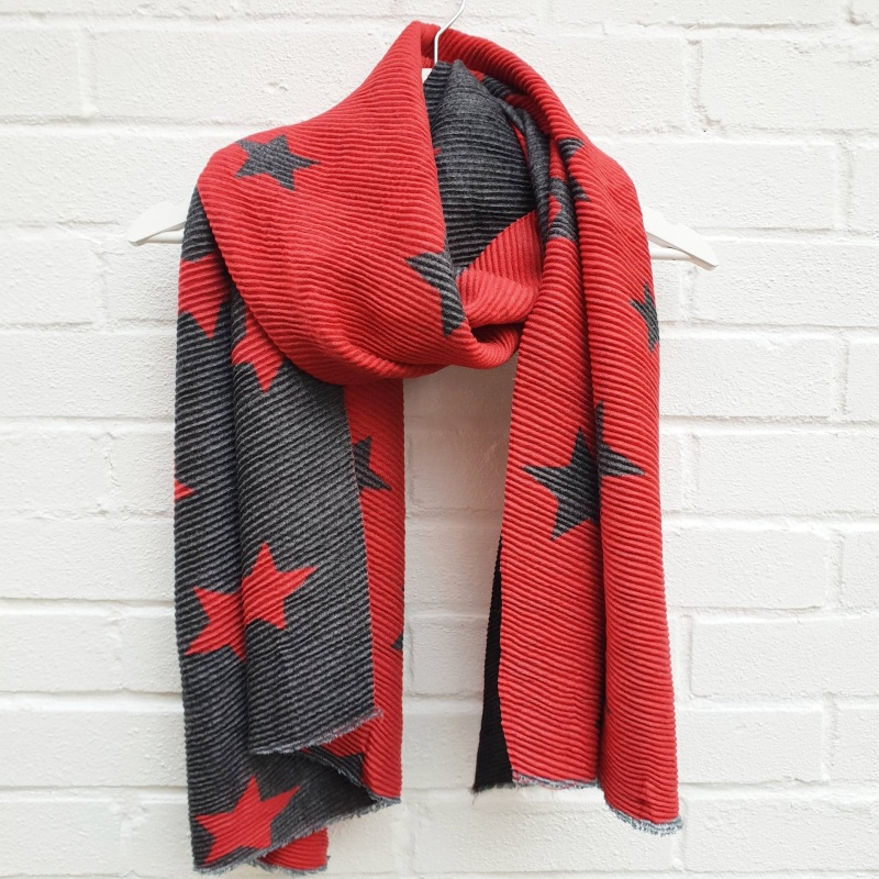 Reversible Stars - Warm Red & Grey